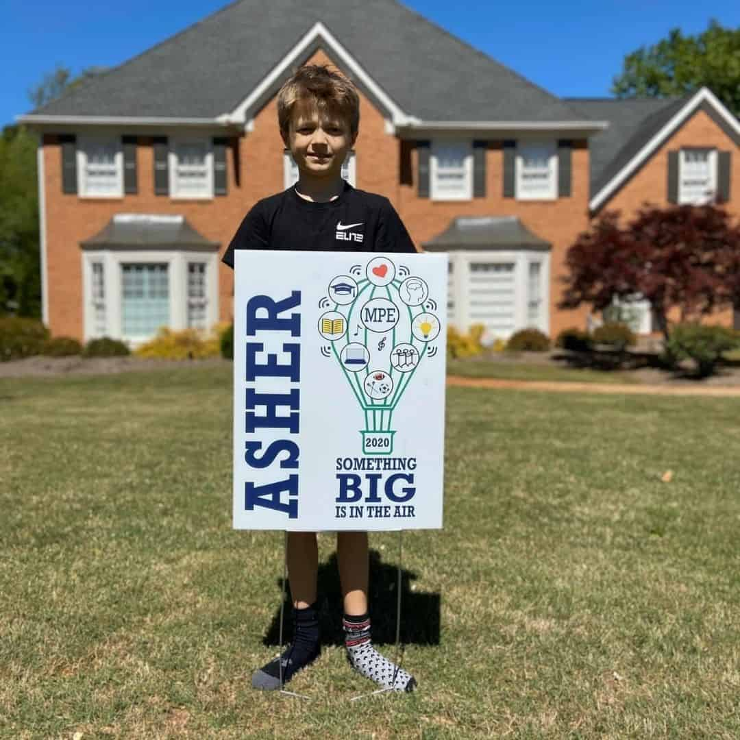 Asher Georgia middle school graduation yard sign in front yard