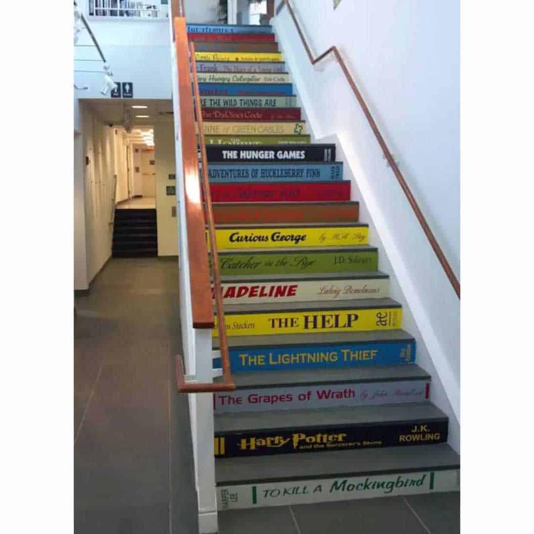 DIY painted custom book spine stair risers