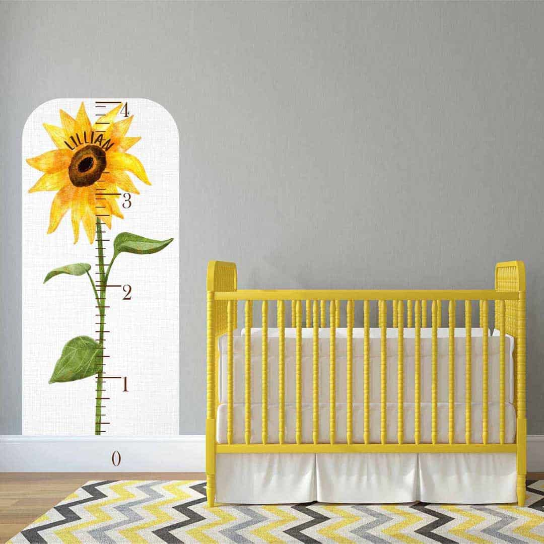 Personalized sunflower wall measuring decal